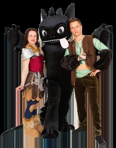 Беззубик, Иккинг и Астрид из мультфильма «Как приручить дракона»