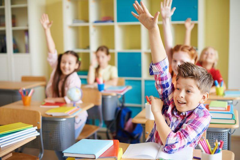 дети тянут руку, зная правильный ответ викторины